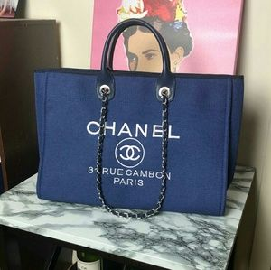 Chanel Blue Large tote shopping bag